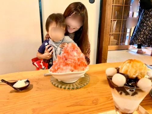 かき氷で有名な奈良富雄「みやけ」のかき氷と親子